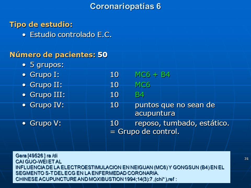 Coronariopatías 6 Tipo de estudio: Estudio controlado E.C.