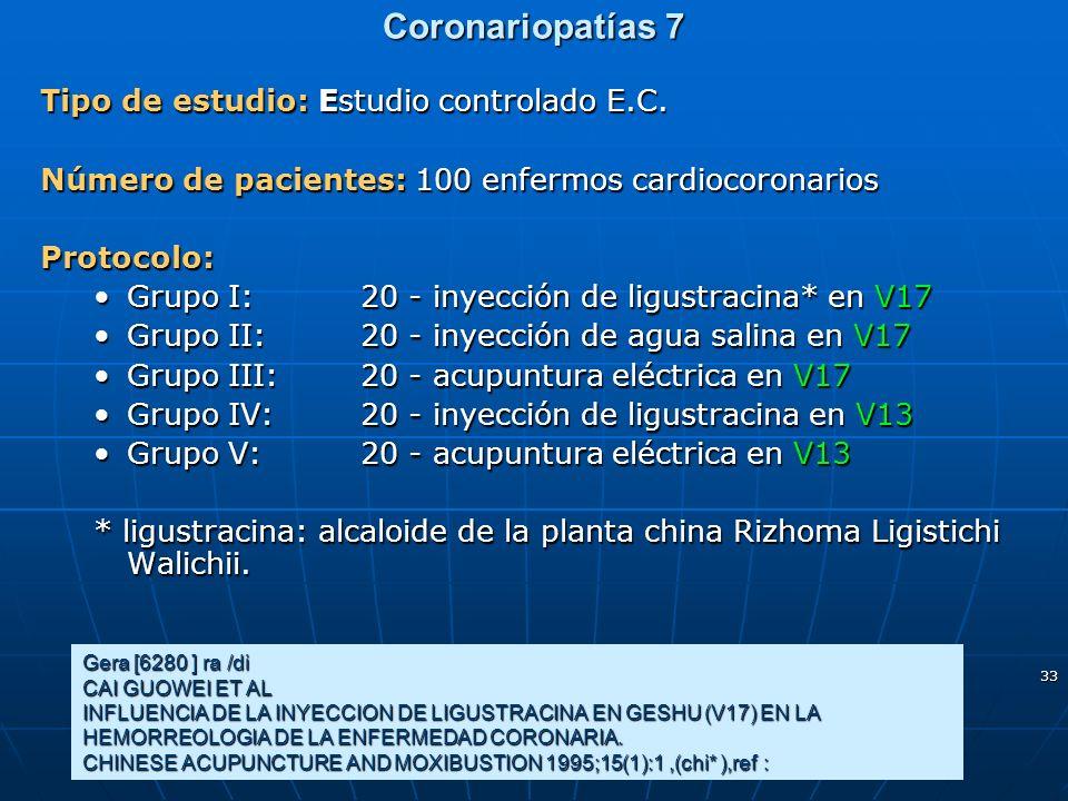 Coronariopatías 7 Tipo de estudio: Estudio controlado E.C.
