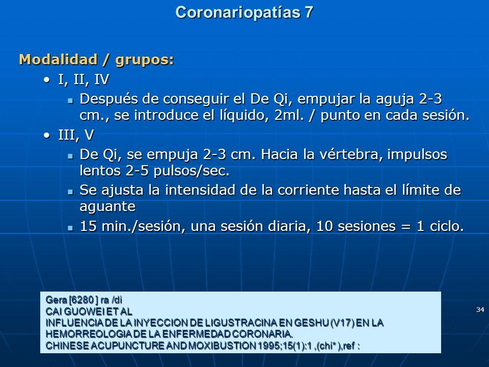 Coronariopatías 7 Modalidad / grupos: I, II, IV
