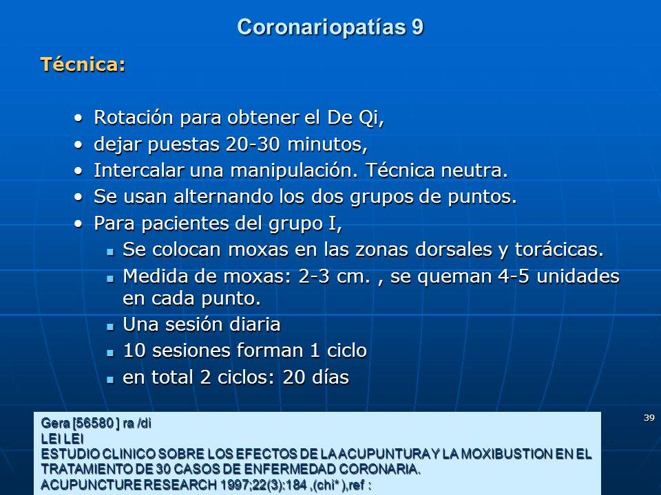 Coronariopatías 9 Técnica: Rotación para obtener el De Qi,
