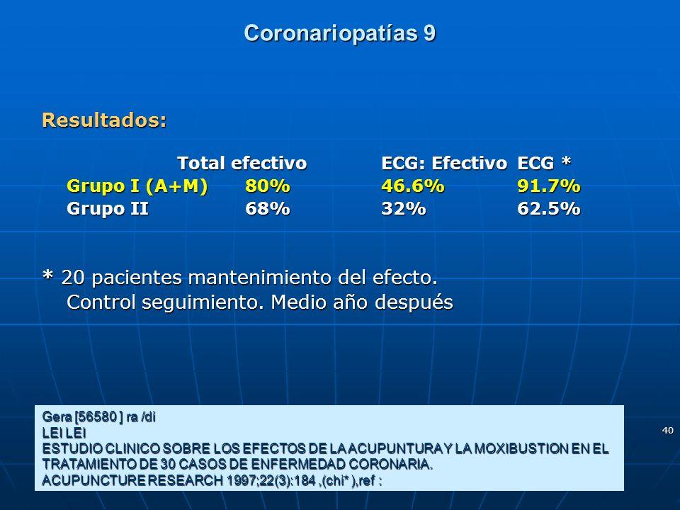 Coronariopatías 9 Resultados: * 20 pacientes mantenimiento del efecto.