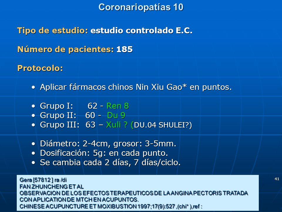 Coronariopatías 10 Tipo de estudio: estudio controlado E.C.