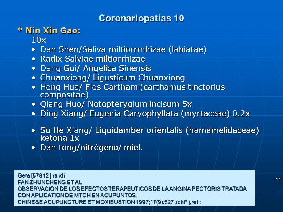 Coronariopatías 10 * Nin Xin Gao: 10x