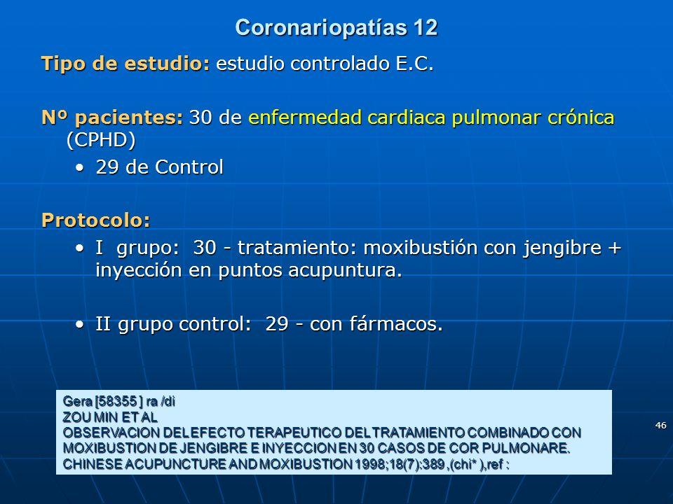 Coronariopatías 12 Tipo de estudio: estudio controlado E.C.