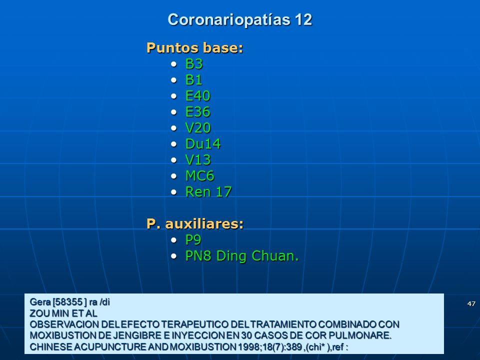 Coronariopatías 12 Puntos base: B3 B1 E40 E36 V20 Du14 V13 MC6 Ren 17