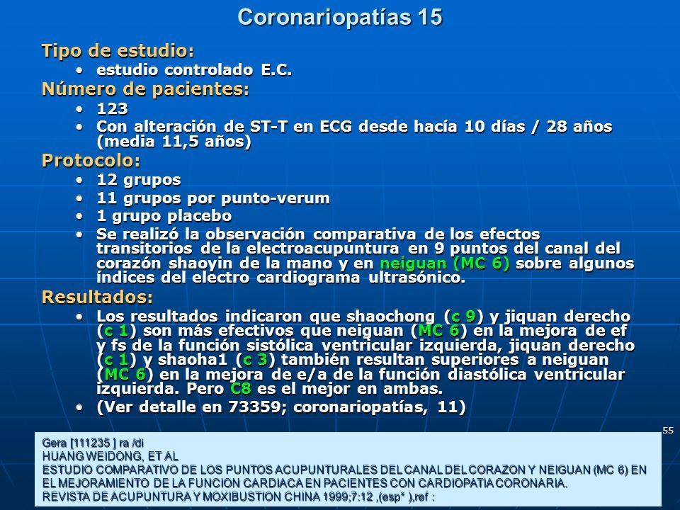 Coronariopatías 15 Tipo de estudio: Número de pacientes: Protocolo:
