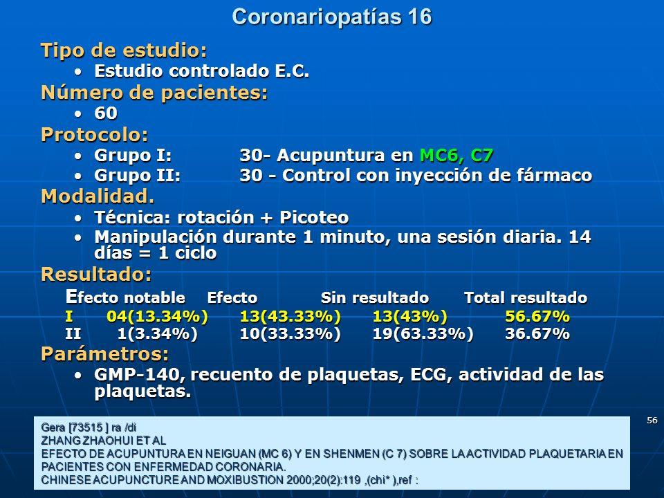 Coronariopatías 16 Tipo de estudio: Número de pacientes: Protocolo: