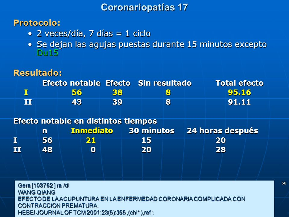 Coronariopatías 17 Protocolo: 2 veces/día, 7 días = 1 ciclo