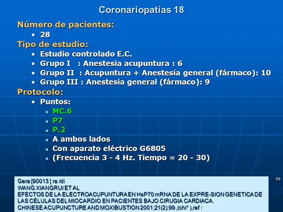 Coronariopatías 18 Número de pacientes: Tipo de estudio: Protocolo: 28