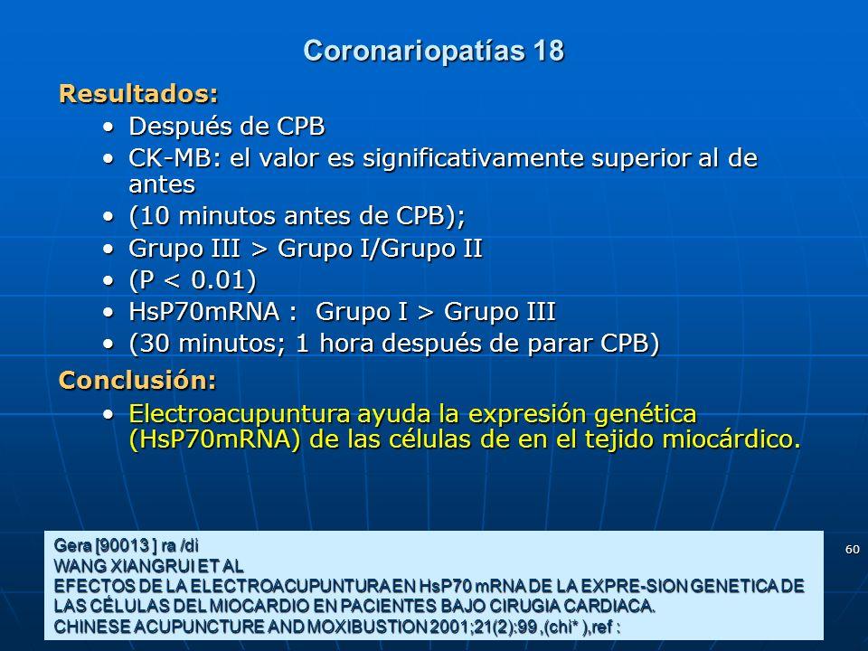 Coronariopatías 18 Resultados: Después de CPB