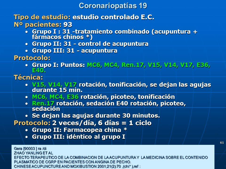 Coronariopatías 19 Tipo de estudio: estudio controlado E.C.