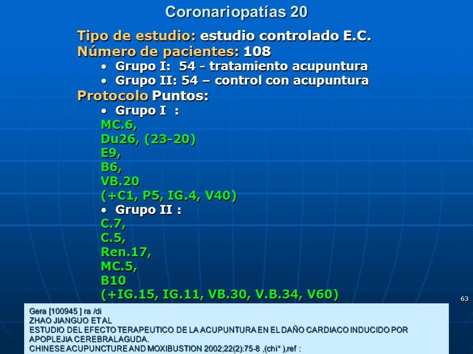Coronariopatías 20 Tipo de estudio: estudio controlado E.C.