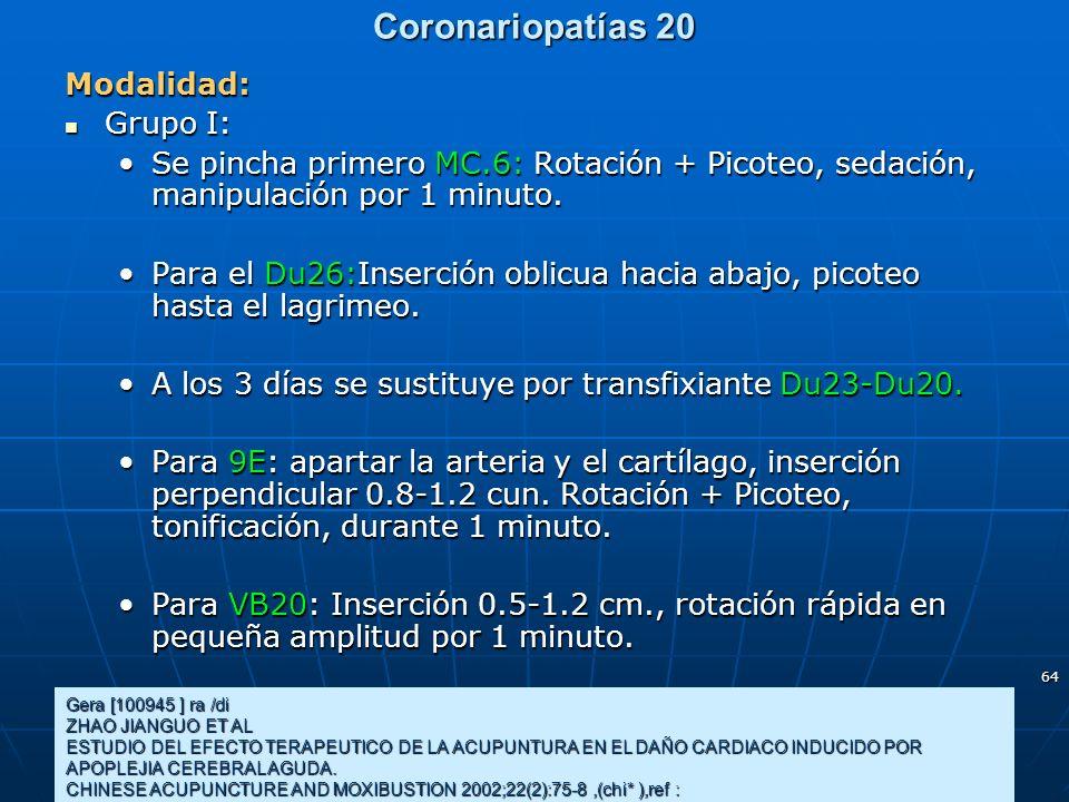 Coronariopatías 20 Modalidad: Grupo I: