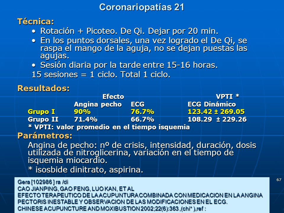 Coronariopatías 21 Técnica: