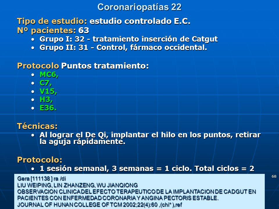 Coronariopatías 22 Tipo de estudio: estudio controlado E.C.