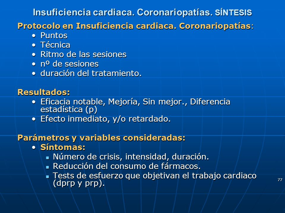 Insuficiencia cardiaca. Coronariopatías. SÍNTESIS