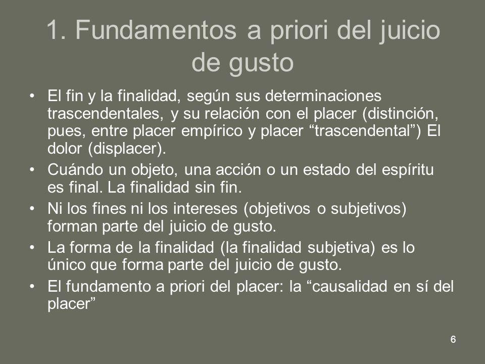 1. Fundamentos a priori del juicio de gusto