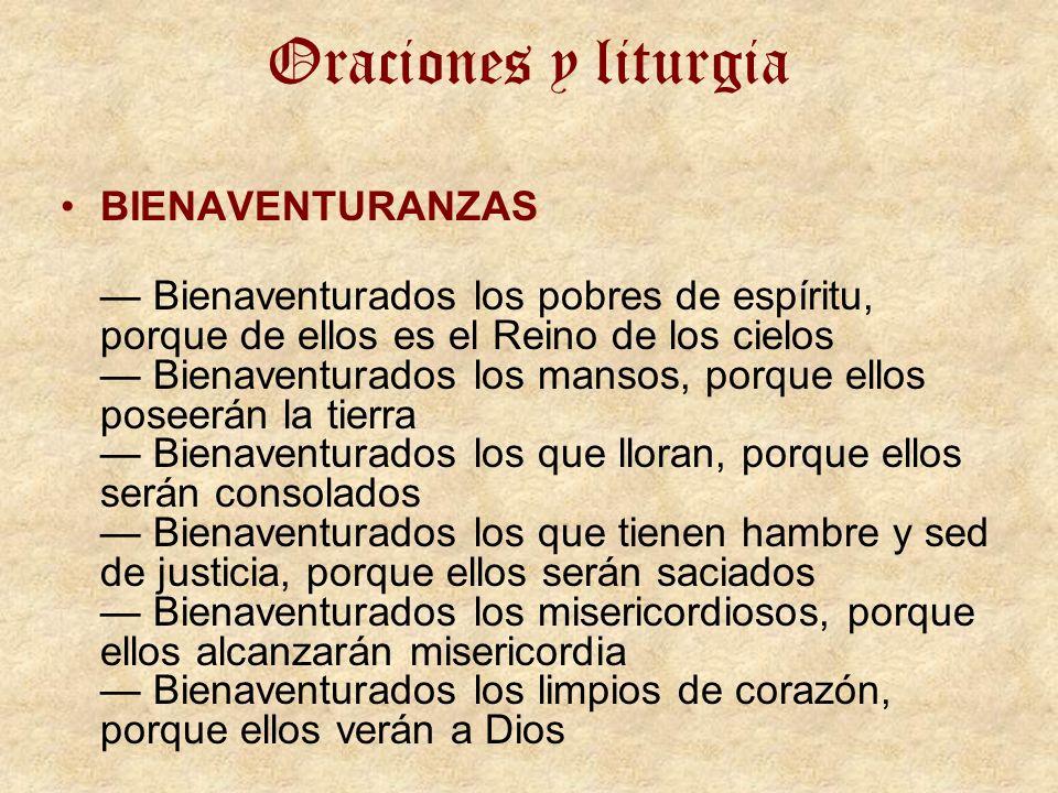 Oraciones y liturgia BIENAVENTURANZAS
