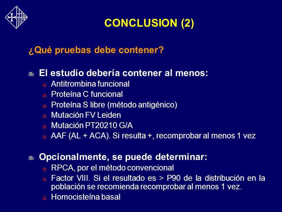 CONCLUSION (2) ¿Qué pruebas debe contener