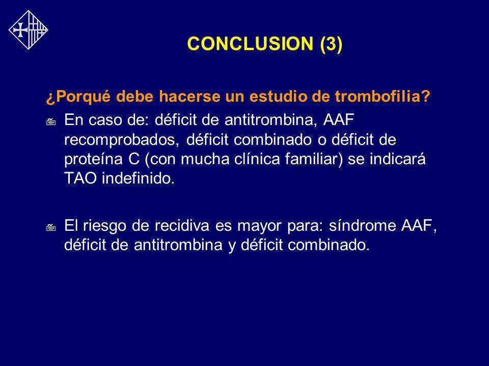 CONCLUSION (3) ¿Porqué debe hacerse un estudio de trombofilia