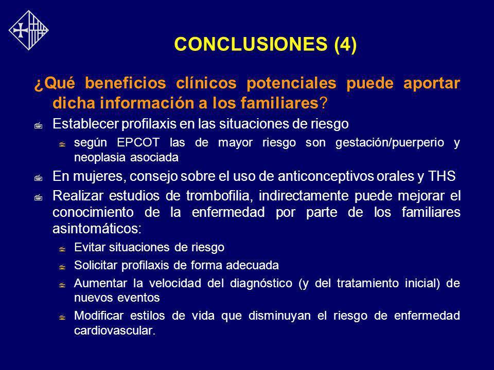CONCLUSIONES (4) ¿Qué beneficios clínicos potenciales puede aportar dicha información a los familiares