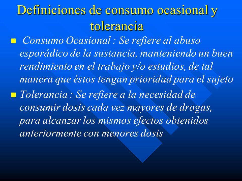 Definiciones de consumo ocasional y tolerancia