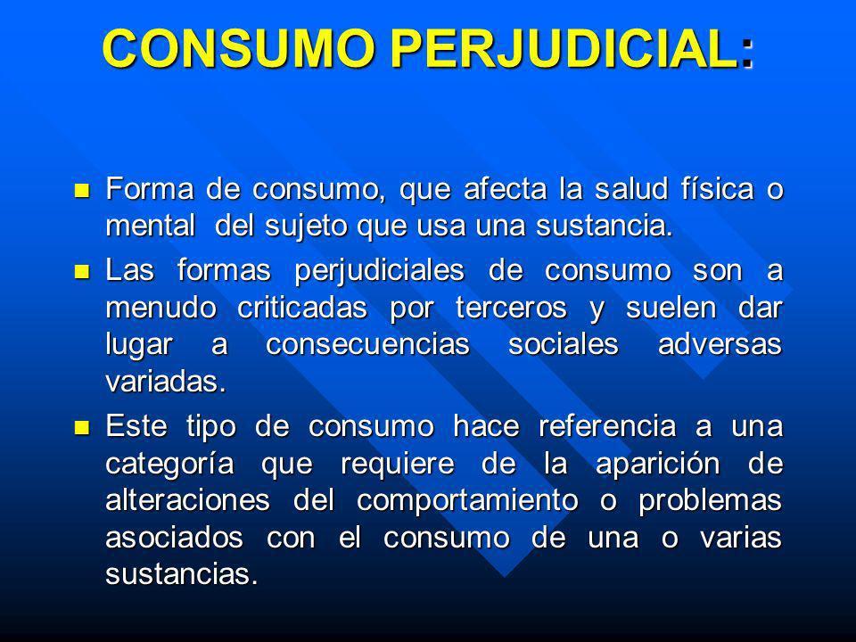 CONSUMO PERJUDICIAL: Forma de consumo, que afecta la salud física o mental del sujeto que usa una sustancia.