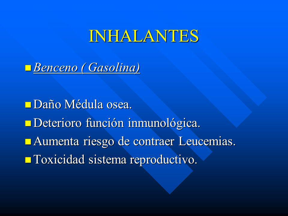 INHALANTES Benceno ( Gasolina) Daño Médula osea.
