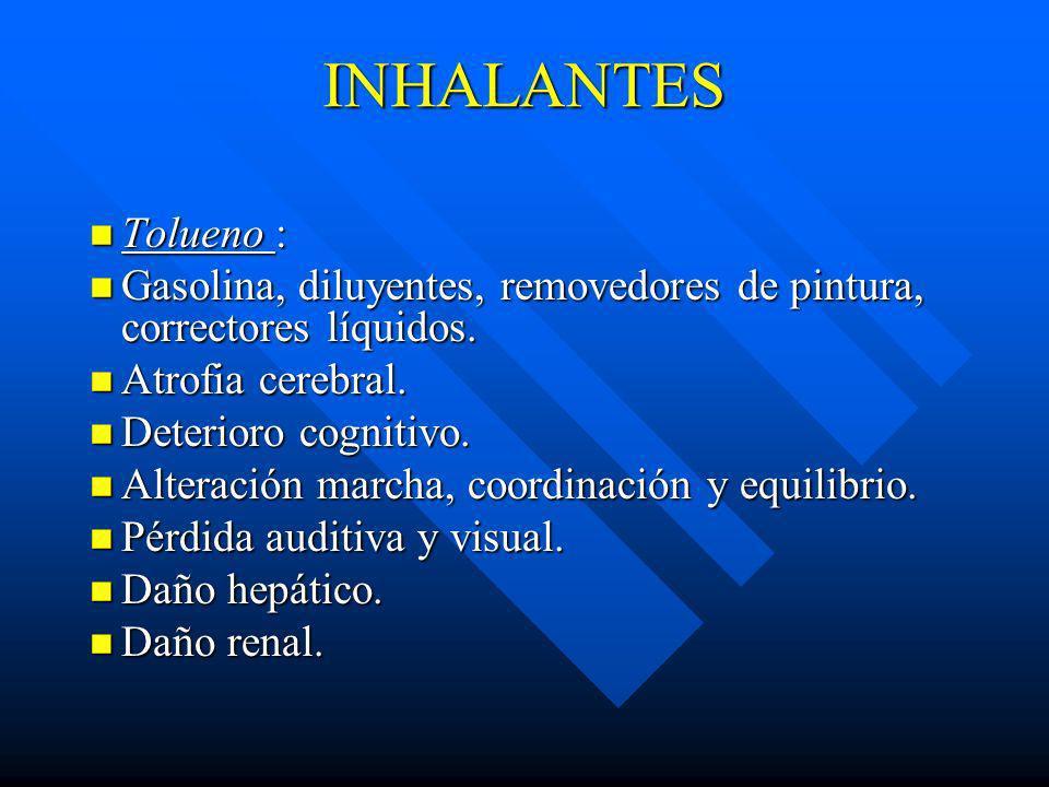 INHALANTES Tolueno : Gasolina, diluyentes, removedores de pintura, correctores líquidos. Atrofia cerebral.
