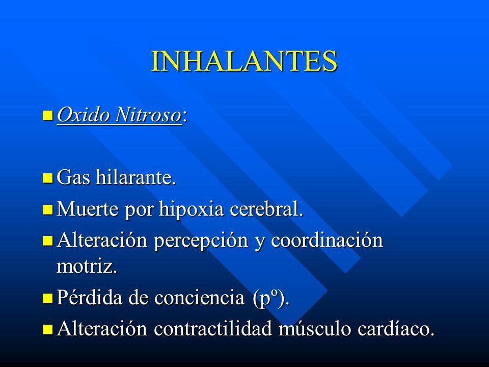 INHALANTES Oxido Nitroso: Gas hilarante. Muerte por hipoxia cerebral.