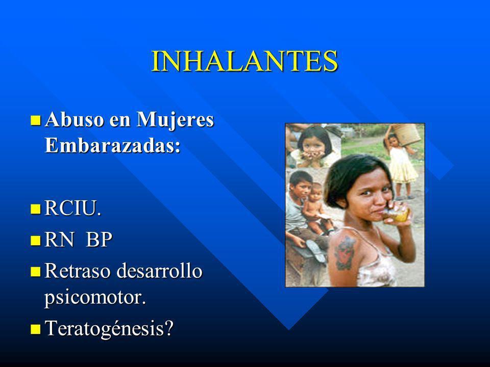 INHALANTES Abuso en Mujeres Embarazadas: RCIU. RN BP