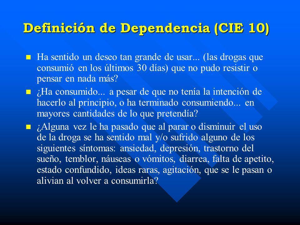 Definición de Dependencia (CIE 10)