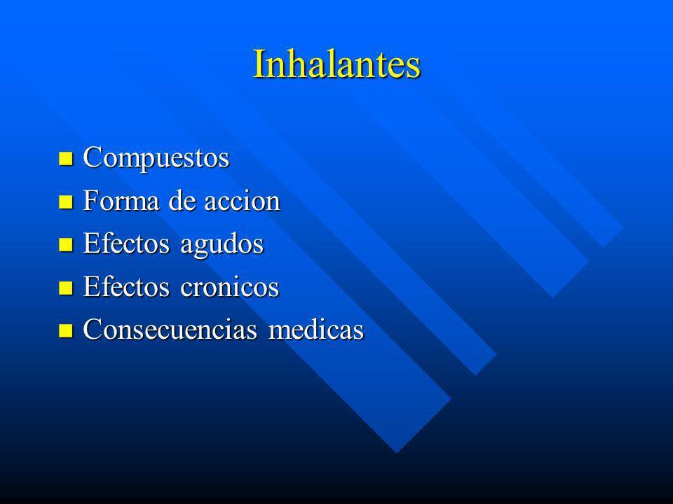 Inhalantes Compuestos Forma de accion Efectos agudos Efectos cronicos
