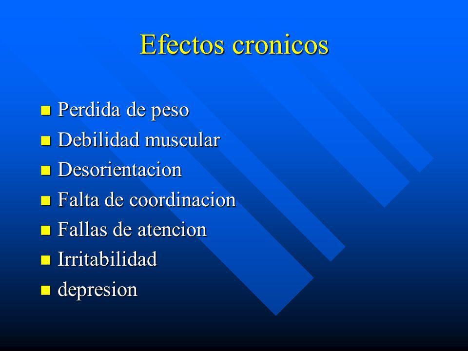Efectos cronicos Perdida de peso Debilidad muscular Desorientacion