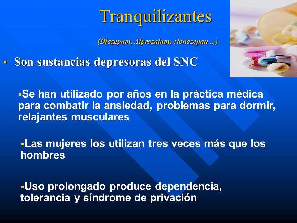 Tranquilizantes (Diazepam, Alprozalam, clonazepan ...)