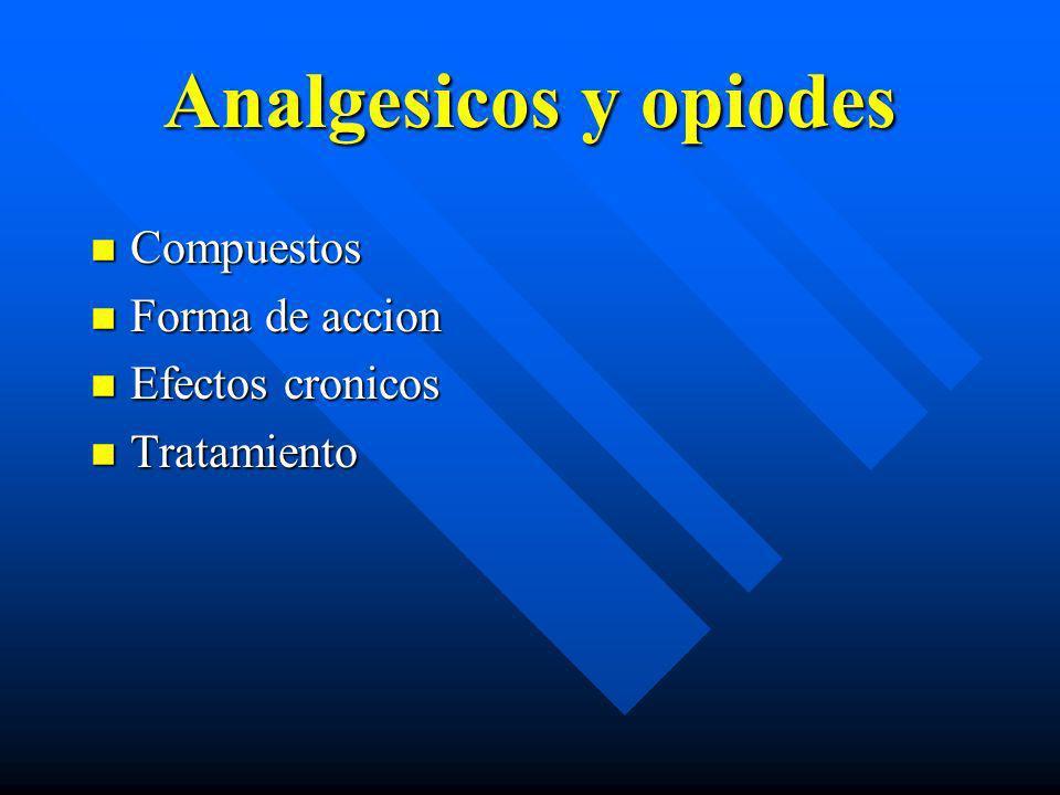 Analgesicos y opiodes Compuestos Forma de accion Efectos cronicos