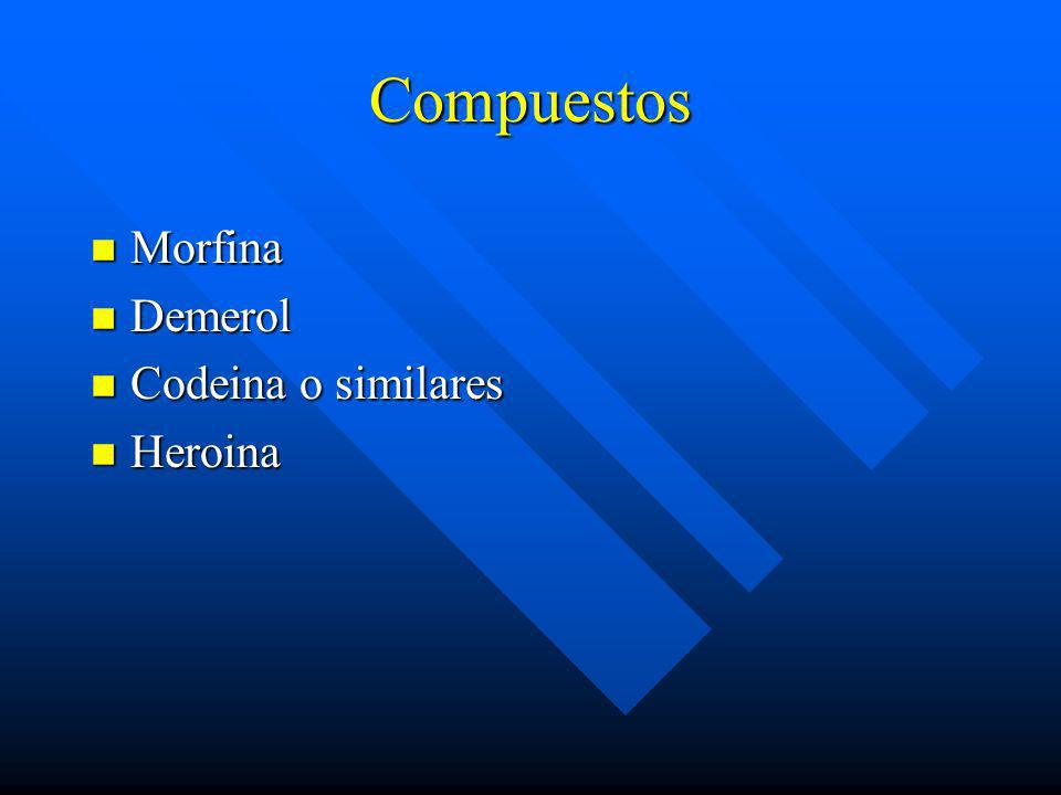 Compuestos Morfina Demerol Codeina o similares Heroina