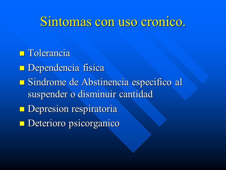 Sintomas con uso cronico.