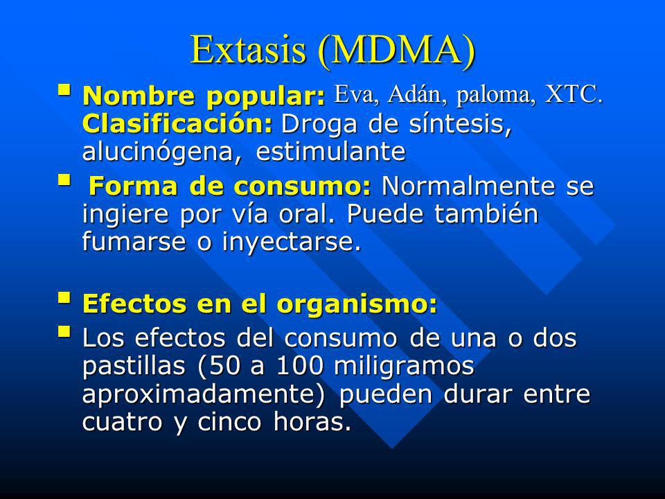 Extasis (MDMA) Nombre popular: Eva, Adán, paloma, XTC. Clasificación: Droga de síntesis, alucinógena, estimulante.