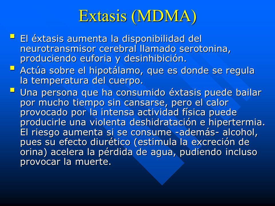Extasis (MDMA) El éxtasis aumenta la disponibilidad del neurotransmisor cerebral llamado serotonina, produciendo euforia y desinhibición.