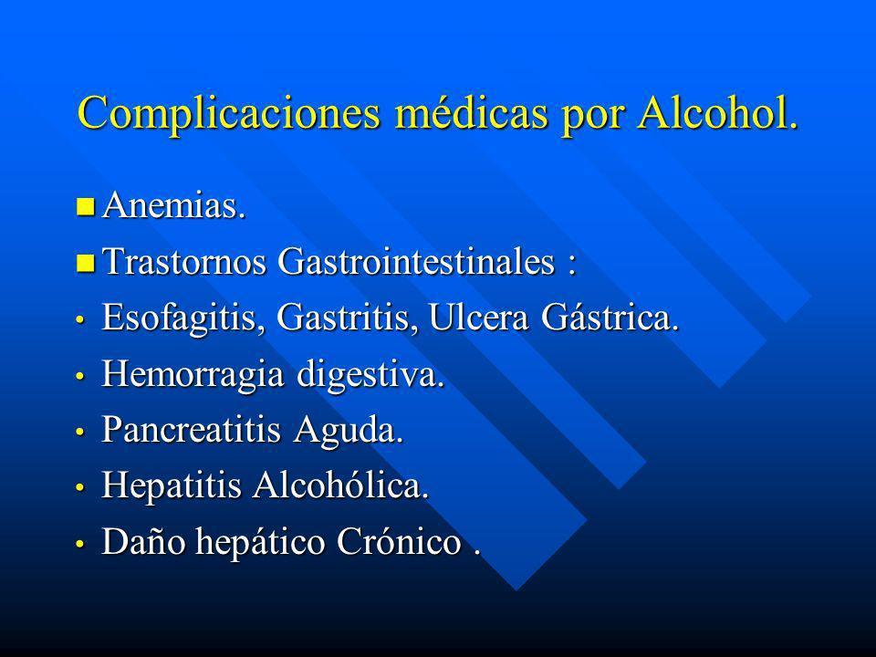Complicaciones médicas por Alcohol.