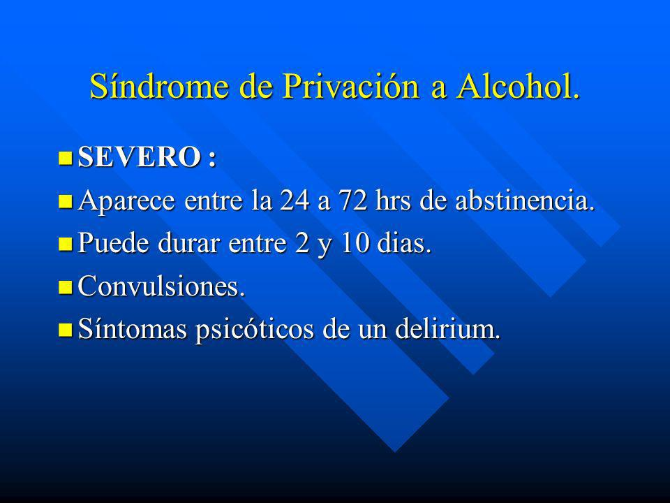Síndrome de Privación a Alcohol.