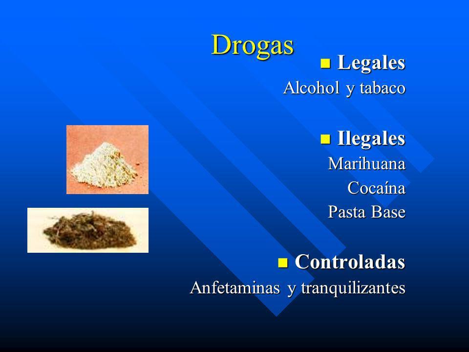 Drogas Legales Ilegales Controladas Alcohol y tabaco Marihuana Cocaína