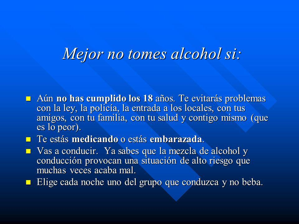 Mejor no tomes alcohol si: