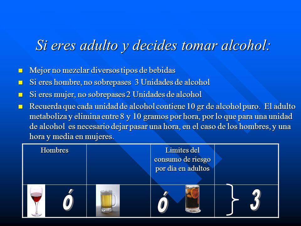 Si eres adulto y decides tomar alcohol: