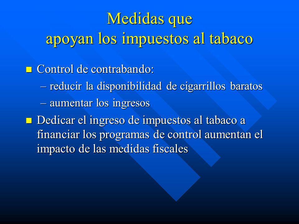 Medidas que apoyan los impuestos al tabaco
