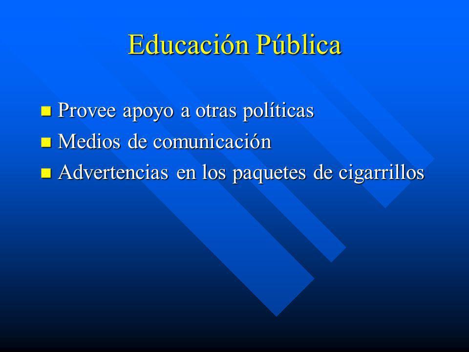 Educación Pública Provee apoyo a otras políticas