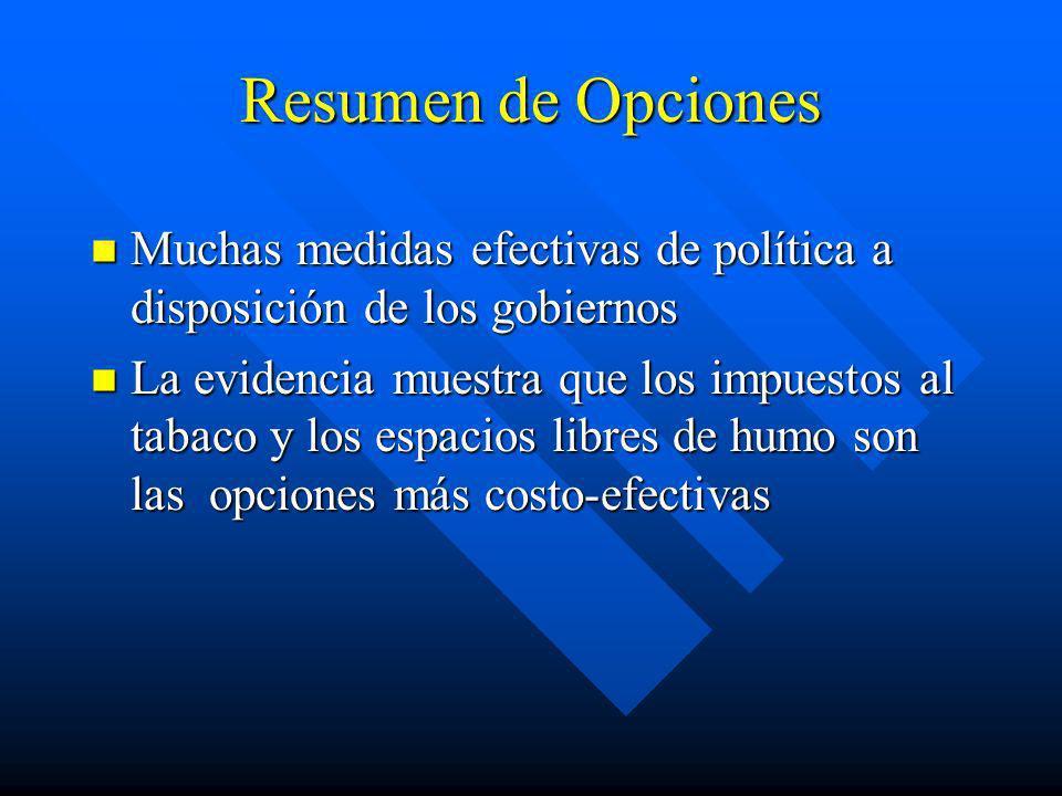 Resumen de Opciones Muchas medidas efectivas de política a disposición de los gobiernos.