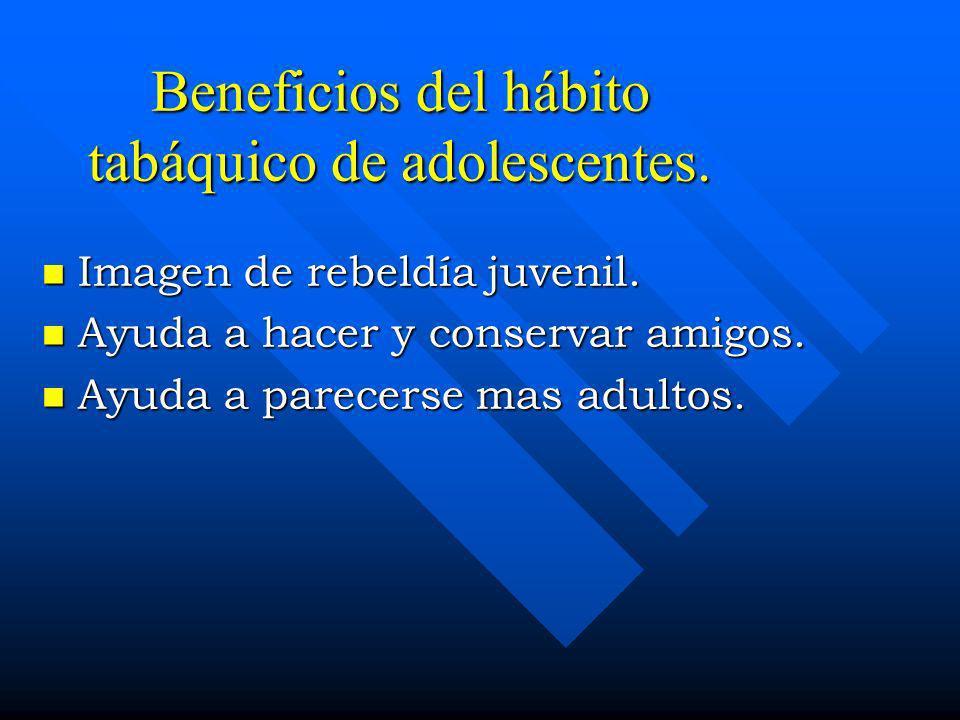 Beneficios del hábito tabáquico de adolescentes.