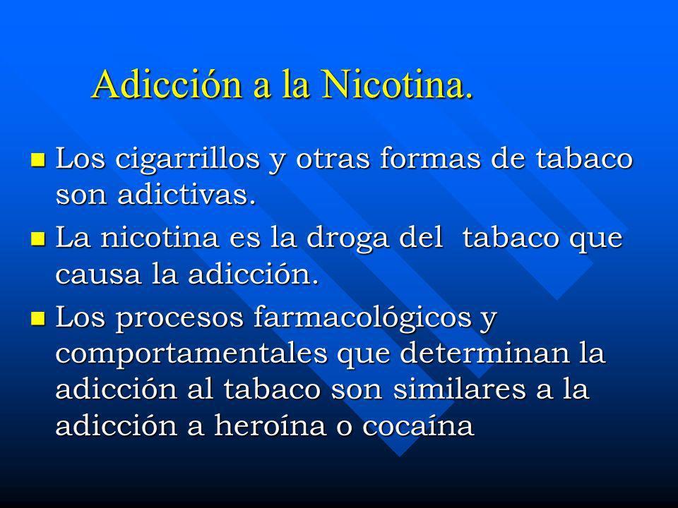 Adicción a la Nicotina. Los cigarrillos y otras formas de tabaco son adictivas. La nicotina es la droga del tabaco que causa la adicción.